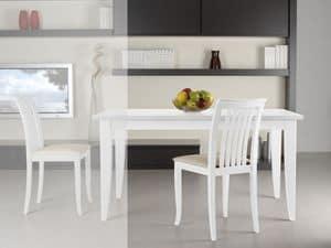 Ergänzungen Stuhl 08, Holzstuhl mit gepolstertem Sitz und Rückenlehne mit vertikalen Lamellen