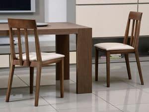 Ergänzungen Stuhl 01, Holzstuhl, gepolsterter Sitz, Rückenlehne mit vertikalen Lamellen