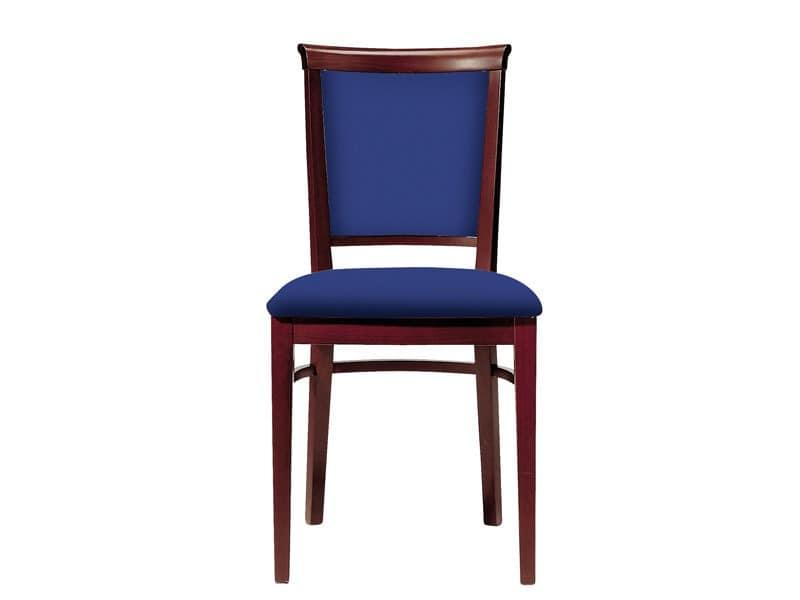 063 3/4, Holzstuhl für die Gaststätten, gepolsterter Sitz und Rückenlehne