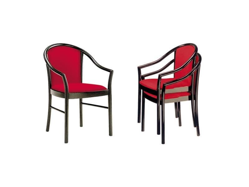 C11 STK, Sessel mit Armlehnen aus Massivholz, für Restaurants