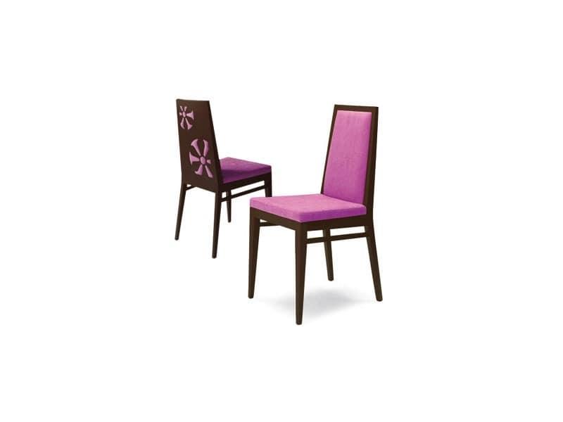 D02, Stuhl mit speziellen Dekoration auf der Rückseite der Rückenlehne