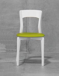 ISOTTA, Stuhl mit gepolsterten Sitz-, Eschen- oder Buchenholzstruktur