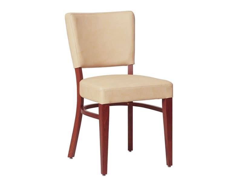 Marsiglia/S, Stuhl aus Holz für Wohnzimmer, mit gepolstertem Sitz und Rückenlehne