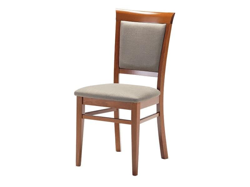Sirai, Holzstuhl mit gepolstertem Sitz und Rückenlehne, für Wohnräume