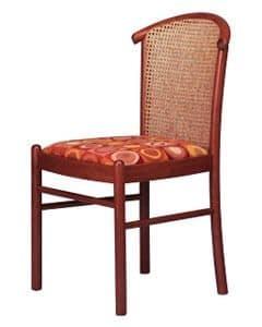 407 C, Stuhl mit Rohrstock zurück, in Buche, für Eisdiele
