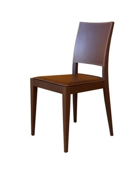 M17, Stuhl in Buche, Sitz und Rückenlehne mit Leder überzogen