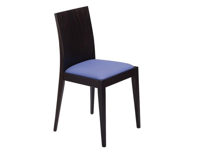 Masha/S, Holzstuhl mit gepolstertem Sitz für Bars und Restaurants