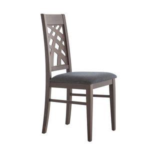 MP490D, Stuhl mit dekorativer Rückenlehne aus Holz