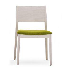 Sintesi 01511, Stuhl aus Massivholz, gepolsterter Sitz, moderner Stil