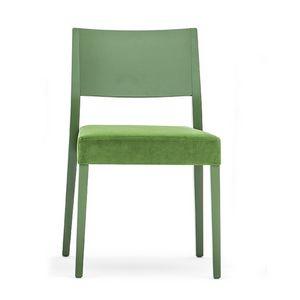 Sintesi 01513, Stuhl aus Massivholz, gepolsterter Sitz, moderner Stil