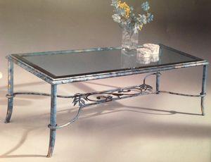 Diva 087/T, Kleiner Tisch aus Glas und Schmiedeeisen
