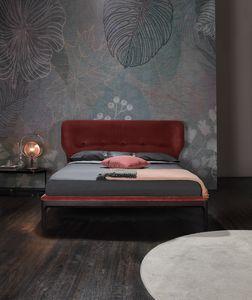 AMBRA, Bett mit umlaufendem Polsterkopfteil