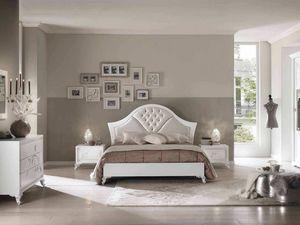 Camelia Bett, Elegantes Holzbett mit weißem Finish