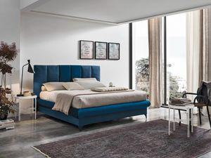 CRETA BD461, Bett mit Kopfteil mit vertikalen Kissen
