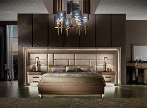 Diamond Bett mit Einbauwand, Bett mit großem Kopfteil