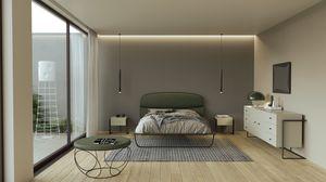 Globe, Gepolstertes Bett mit handgearbeiteter Eisenstruktur