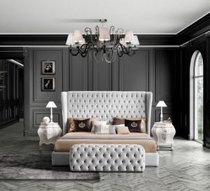 HERMES Bett, Klassisches Bett mit großem Tuftingkopfteil