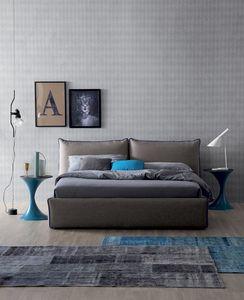 JOY, Bett mit Bezug aus Leder, Kunstleder oder Stoff