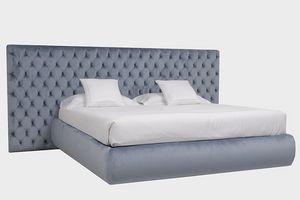 Laura Maxi, Modernes Bett mit großem Capitonné-Kopfteil