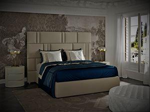 Myfair Bett, Bett mit Leder bezogen, schildkrötengrau
