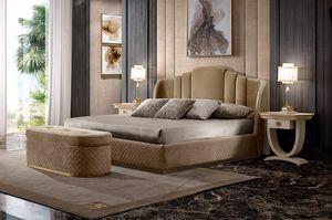 Oliver Art. OL70, Bett gepolstert in gestepptem Stoff