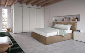 Piumotto, Modernen Stil Bett mit gepolstertem Kopfteil und Bettrahmen