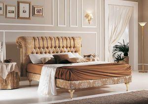 PRINCIPE capitonné Bett, Klassisches Bett mit geknöpftem Kopfteil
