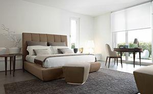 Robert letto, Bett mit gepolsterter Struktur und Kopfstütze