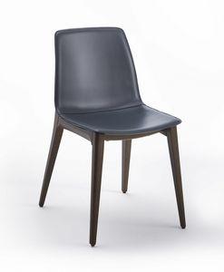 Aida, Gepolsterter Stuhl mit raffinierter Holzstruktur