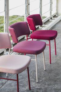 ART. 0161-MET-IM MARLEN, Stuhl mit Metallgestell, gepolsterter Sitz