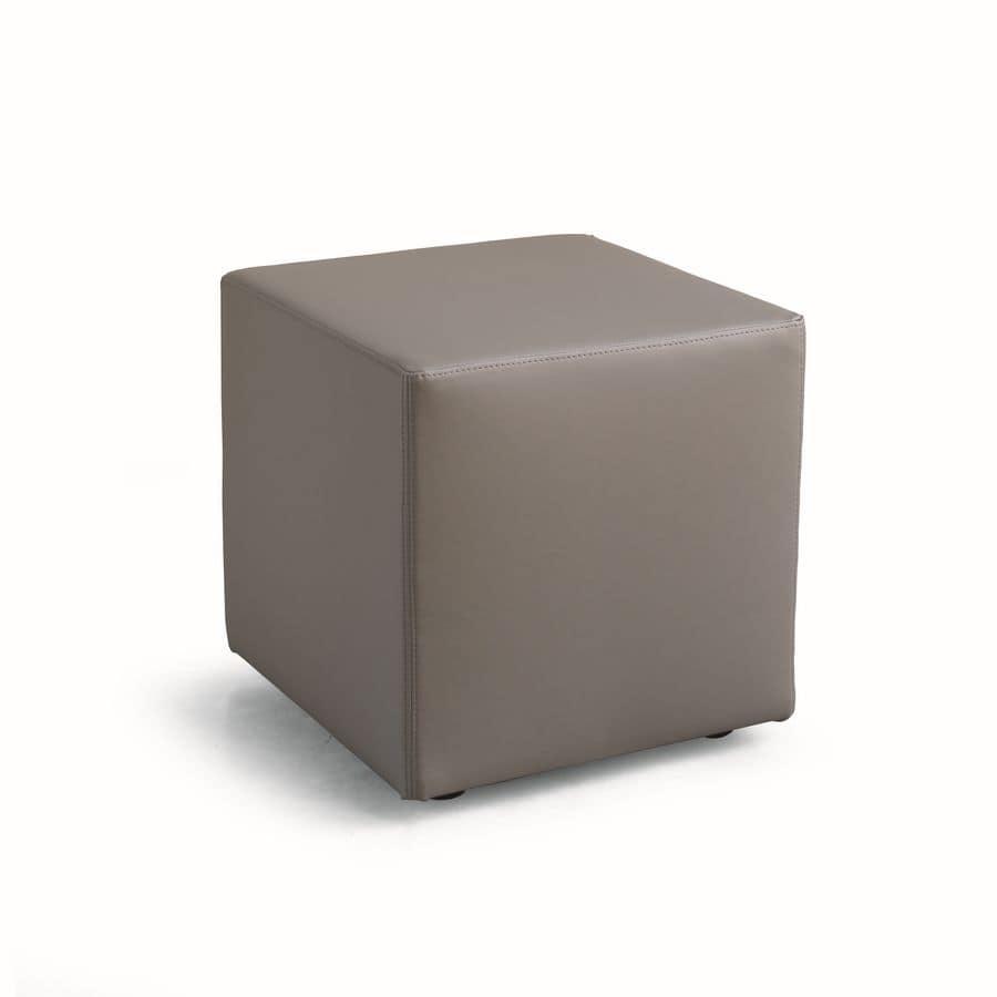 ART. 961 KUBO POUF, Pouf in Leder oder Kunstleder gepolstert, quadratisch