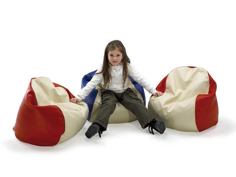 PALLINO, Sitzsack für Kinder, in Kunstleder überzogen, für das Kinderzimmer und Kindergarten