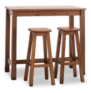 Bar Tisch rechteckig, Hoher Tisch für Bars, rechteckig, aus Kiefernholz