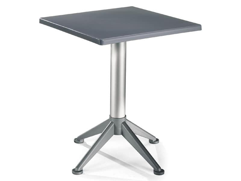 Table 60x60 cod. 20/BG4A, Quadratischen Tisch mit 4-Fuß-Aluminium-Basis