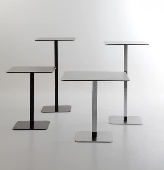 Voilà square h75, Tabelle für Bars, quadratische Platte aus HPL, quadratische Metallbasis