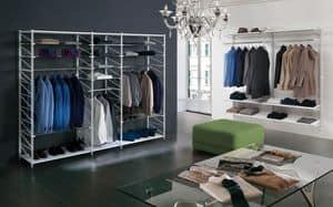 Socrate clothes shop, Regalsysteme für Geschäfte, verschiedenen Ausführungen und Zubehör