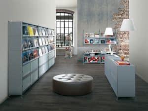 Socrate shops, Ablagemodul aus lackiertem Stahl, für Geschäfte