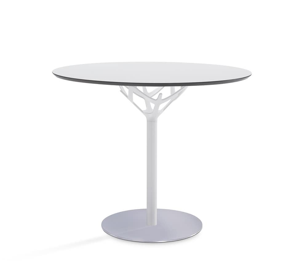 Cicerone, Kleiner runder Tisch aus verchromtem Stahl und Glas