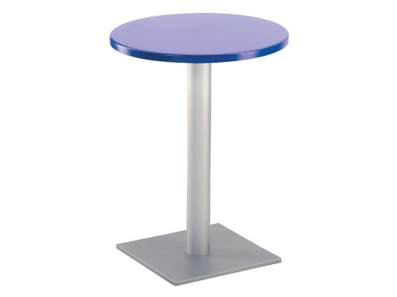 Table Ø 60 cod. 04/BQ, Stehtisch mit quadratischer Grundfläche, Polymer oben