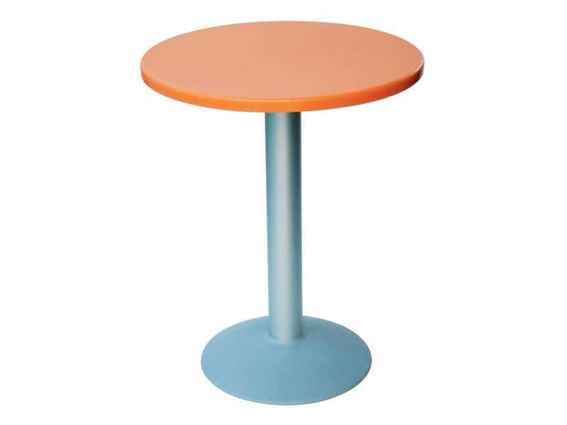 Table Ø 60 cod. 04/BT, Kleiner runder Tisch mit rundem Fuß aus Aluminium