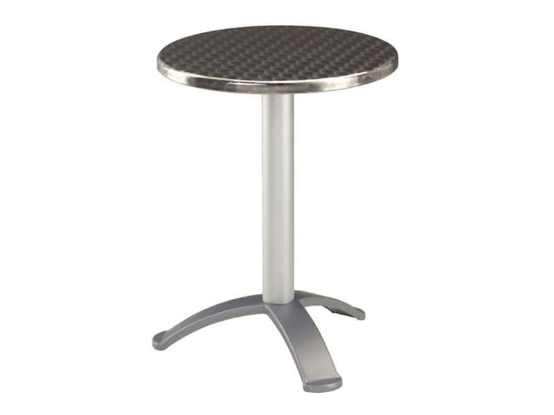 Table Ø 60 cod. 04.IF/BG3, Edelstahl Couchtisch für Bars, Unterteil mit 3 Fuß