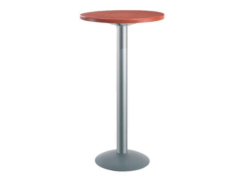 Table Ø 60 h 110 cod. 08/BT, Hoch runden Tisch für Bars, Polymer oben
