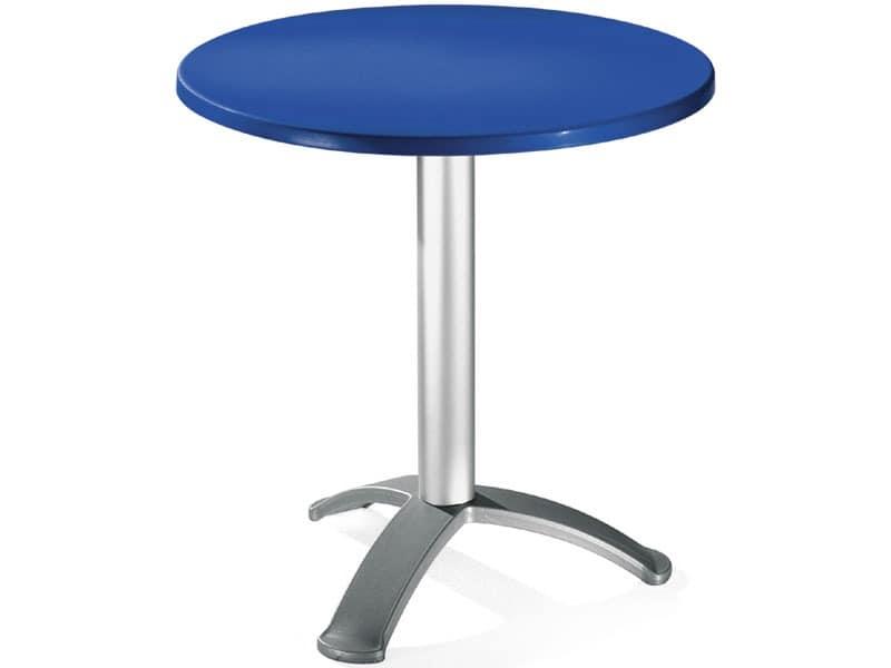 Table Ø 72 cod. 03/BG3, Runder Tisch mit eloxiertem Aluminium-Säule