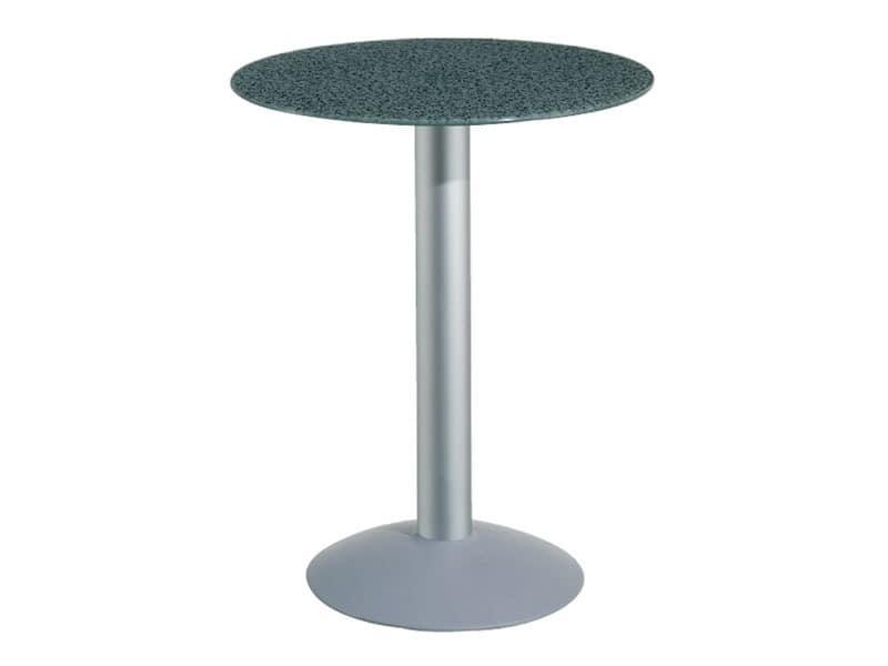 Table Ø 72 cod. 03/BTV, Tabelle mit gehärtetem Glas, Aluminium-Säule