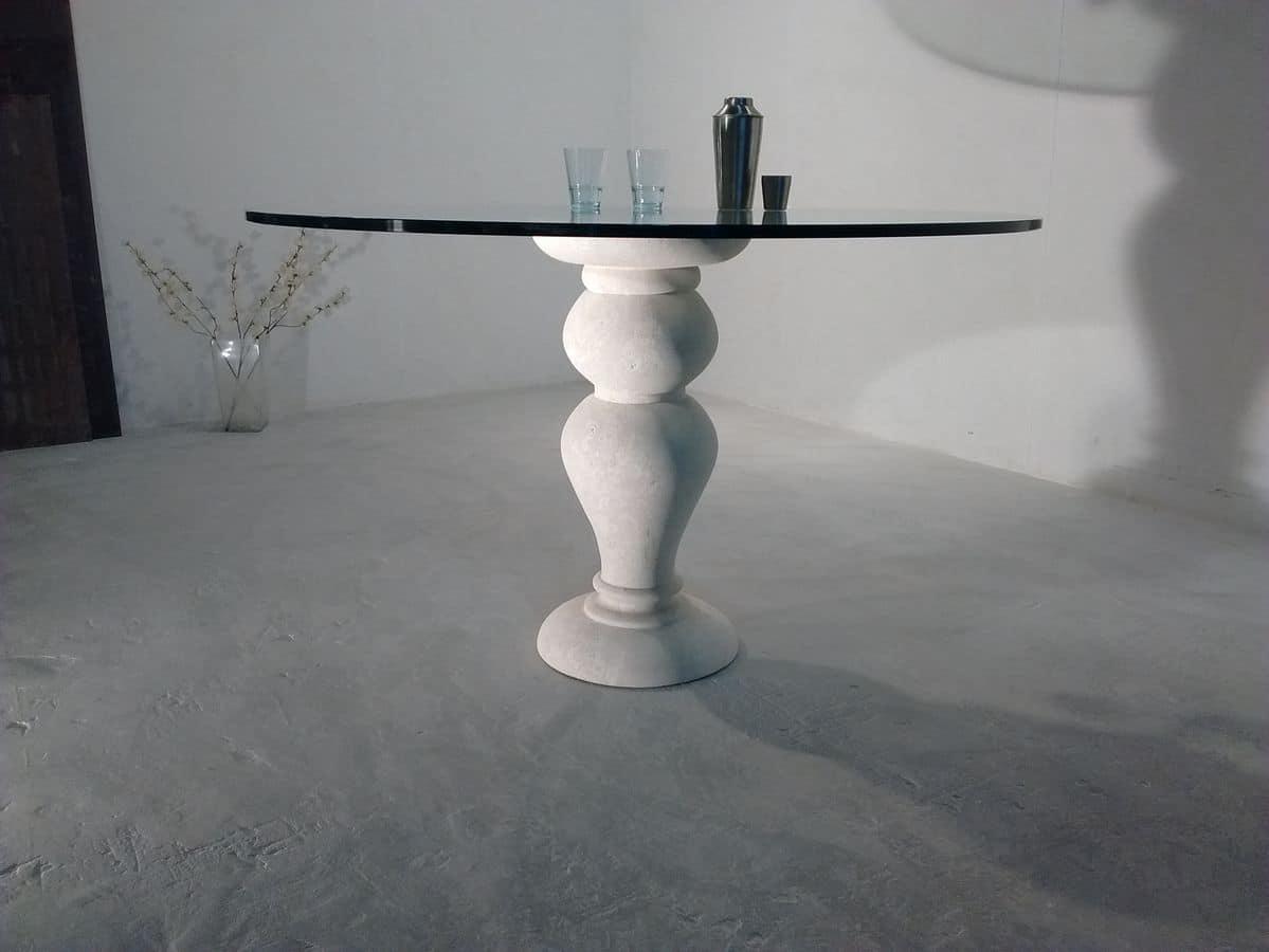 700 Tisch, Esstisch, mit runder Glasplatte, Vicenza Steinsockel