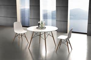 Art. 644 Shell Table, Runder Küchentisch mit Laminatplatte