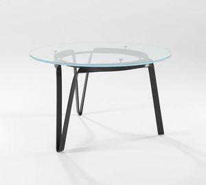 Compasso circolare alto, Tisch mit handgeschmiedetem Boden