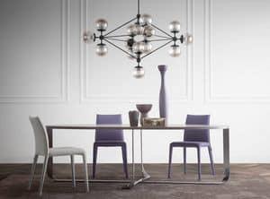 Confluence oval, Tisch mit oval Spitze, elegante Edelstahl-Basis