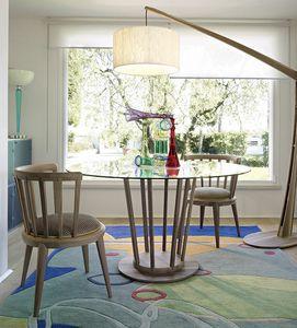 Eclipse Tisch, Moderner Tisch mit runder Glasplatte