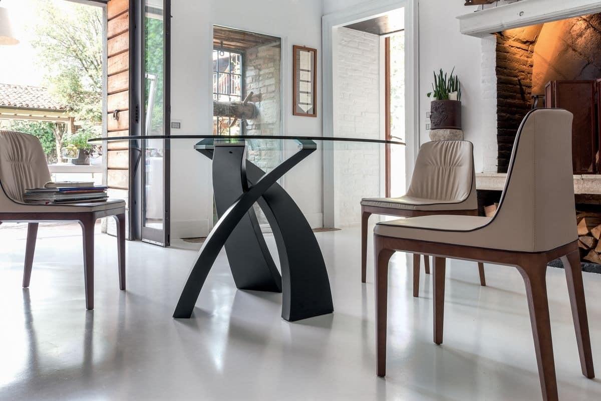 ELISEO, Tisch mit Platte aus Holz, Glas oder Keramik